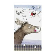 Alex Clark Robin & Donkey Pack of 5 Christmas Thank You Cards